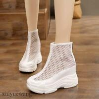 Womens Mesh Breathable Hollow Out Athletic Sneaker Hidden Wedge Heel Boots Shoes