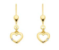 Mädchen Gold 333 süße Herz Ohrringe Kinder Herzchen Pendel Ohrhänger Zirkonia