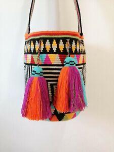 100% Handmade Authentic Mochila Wayuu/ Wayuu Bag Double-Threaded Large Size
