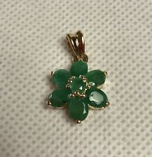 14k Solid Yellow Gold Natural Emerald Flower Pendant