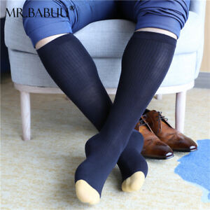3Pairs Pack Mens Striped Colored Toe Thin Sheer Cotton Over The Calf Dress Socks