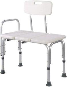 MedMobile® Bathtub Transfer Bench/Bath Chair w/ Back Wide SEAT Adjustable Height