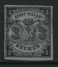 Bremen 1855 3 grote black on blue unused no gum