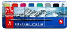 Caran D'Ache Classic Gouache Studio Paint - Metal Tin Set of 8 Colours & Brush