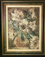 """Original Mid Century Impressionist Oil Painting on Modeling Paste """"Flowers"""""""