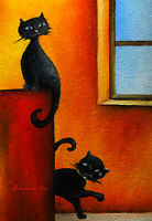 Original ACEO ART oil painting NAIVE ART playing BLACK CATS MINIATURE
