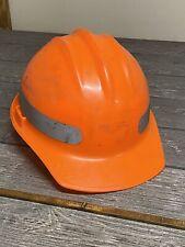 Vintage Ed Bullard Orange Hard Boiled Hard Hat With Ratcheting Liner