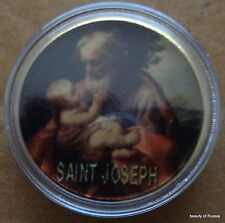 ST JOSEPH WITH CHILD     24K GOLD plated coin  40 mm  #1