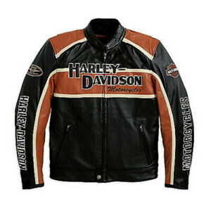 Men's Classic Cruiser leather jacket Orange Strips Motorcycle Riding Jacket
