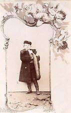 BJ303 Carte Photo vintage card RPPC Enfant fmode fashion cadre angelots ange