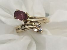 Nice Vintage 14K Yellow Gold, Ruby and Diamond Ring ina Size 4