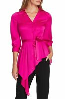 Vince Camuto Top Button Down Wrap Crepe Blouse Magenta Pink Sz S NEW NWT 376