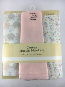 Modern Baby 3 Pack Cotton Muslin Swaddle Blankets 100% Cotton Pink & White New