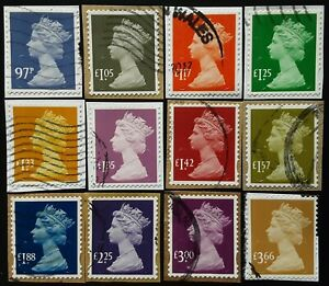 GB 12 High Value Security Machin Used On Paper Stamps (34) (see photo)