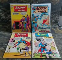 4 DC Action Comics #392, #319, #320, #321 Superman Action Comic book Lot CU
