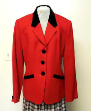 Pendleton Vintage Red Black Trim Lined 100% Wool Blazer Jacket
