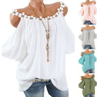 Women Plus Size Cold Shoulder T Shirt Tops Summer Ladies Beach Loose PleatedTee