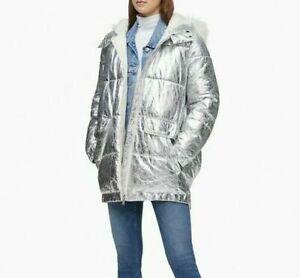 nwt $200 CALVIN KLEIN logo Silver Metallic PUFFER LINED Coat Jacket Hooded L