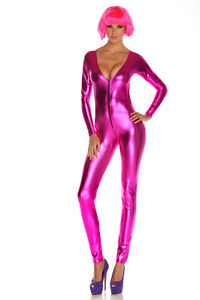 Top Totty Womens Zipper Front Vinyl Catsuit pretty pink