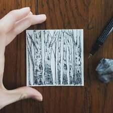 ORIGINAL Birch Tree Artwork Pen Charcoal Pencil Ink Minimalist 4x4 Home Decor
