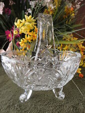 "Germany Clear Glass Basket Lead Crystal Footed Buzz Star 6"" T Vintage"