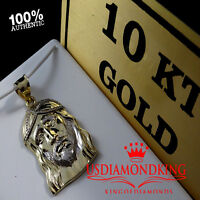 MENS LADIES 10K YELLOW GOLD HOLY JESUS FACE CHARM PENDANT 1.5 INCH 3.4 GRAMS