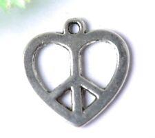 50pcs Tibetan silver Heart PEACE DANGLE Charms pendant SH656