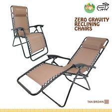 2x ZERO GRAVITY CHAIR ROCKER FOLDING SUN BED SUN LOUNGER TAN RECLINING SUN LOUNG