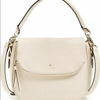 Kate Spade small Devin Cobble Hill White pebbled leather satchel