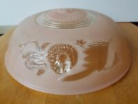 Vintage Art Deco Ceiling Light Fixture Cover Lamp Shade Pink Glass