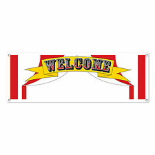 Circus Tent PERSONALIZE WELCOME SIGN BANNER Plastic Carnival Party Decoration