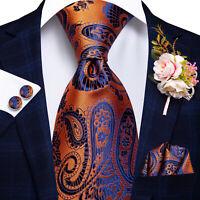 Novelty Mens Silk Tie Necktie EXTRA LONG Blue Orange Floral Hankie Set Wedding