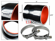 """BLACK 2.75""""-2.5"""" 70-63mm 3-ply Silicone Turbo Intake Intercooler + Clamps Mi"""