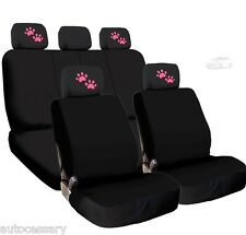 New 4X Pink Paws Logo Headrest And Black Fabric Seat Covers For Hyundai