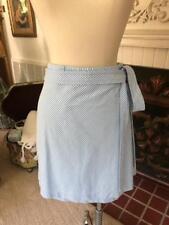 Women Vineyard Vines Skirt Blue White seersucker Skirt Stripe Belt Sz 16 $99.00