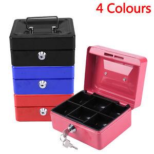 Small Key Lock Petty Cash Box Steel Box Bank Money Pot Safe Lockable 4 Color