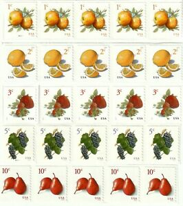 US Coils of 5 Stamps Each - Apples, Meyer Lemons, Strawberries, Grapes, Pears