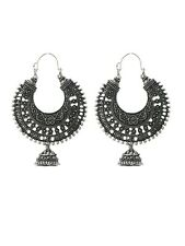 Vintage Antique Silver Plated Chand Bali Half Circle Indian Earrings jhumka Set
