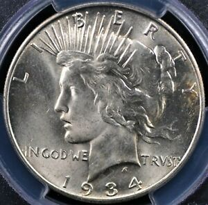 1934 D PEACE DOLLAR PCGS MS 63 GLOWING WHITE WELL STRUCK AND A GEM FOR THE GRADE