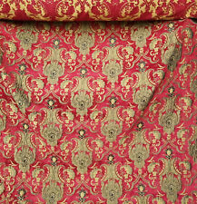 """Damask Chenille Designer Fabric - Red And Flax Floral Motif- Upholstery 54"""""""