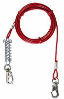 Trixie Long Shock-Absorbing Tie Out Cable Lead Dog Puppy Upto 50kg 5m 8m Spike