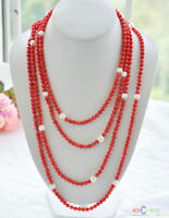 """S1684 100"""" 10mm round freshwater white pearl red coral bead necklace"""