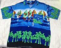 Koko Knot In Gear Fashions Men's XL X-Large Hawaiian Shirt Sailboats Palm Trees