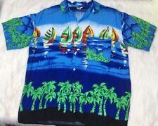 Koko Knot In Gear Fashions Men's XL X-Large Hawaiian Shirt Sailboats Palm Trees