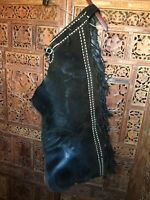 Vintage Single Fringed Leather Chap Armitas; Cowboy, Horse, Western