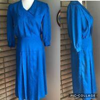 Vintage Nilani 80s Dress Satin Royal Blue Floral Secretary Geek Size 9/10