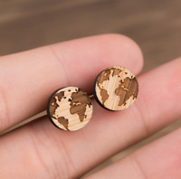 Women Fashion Simple Wooden Circle Round Map Ear Studs Wooden Earrings Jewelry