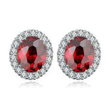 LOVELY 18K WHITE GOLD PLATED GENUINE RUBY RED CUBIC ZIRCONIA STUD OVAL EARRINGS