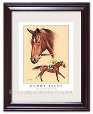 COUNT FLEET FRAMED HORSE RACING ART - 1943 Triple Crown Kentucky Derby champion
