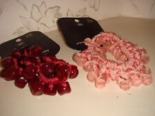 Two Brand New Women's Pink Rose Bead and Burgundy Red Hair Scrunchies Boots